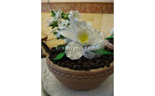 Virágcserép torta KRE2064